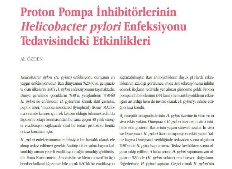Proton Pompa İnhibitörleri'nin H.Pylori'ye Etkisi